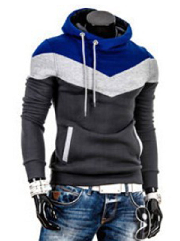 Patchwork Color Block Slim Fit Men's Pullover Hoodie