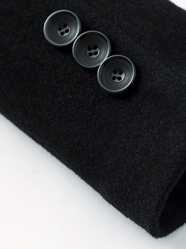 Mid-Length Plain Thick Stand Collar Men's Wool Coat