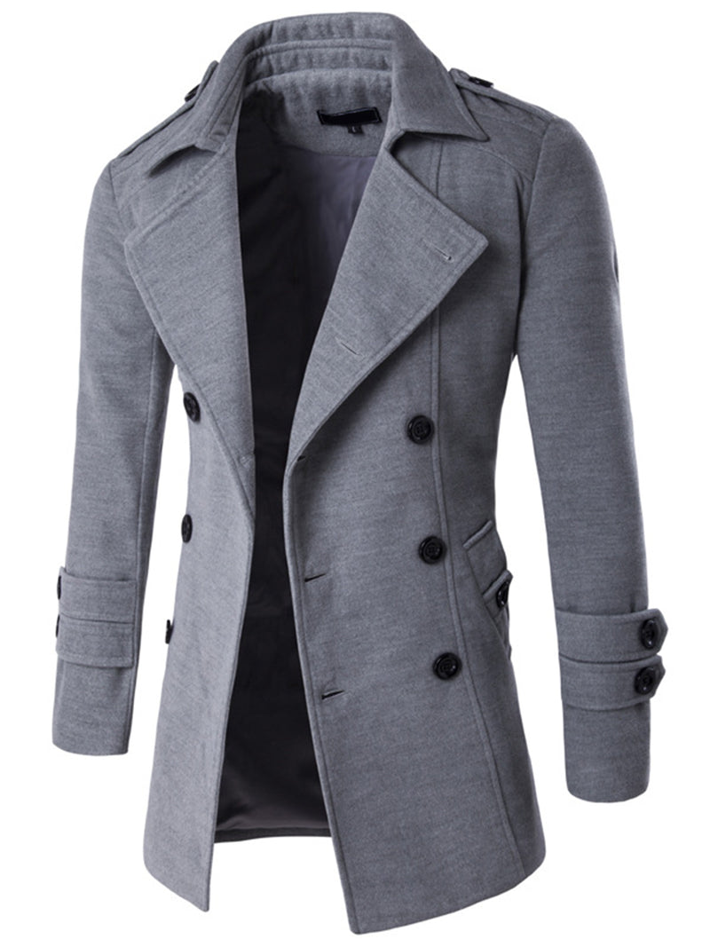 Solid Color Lapel Double-Breasted Side Pocket Slim Fit Men's Woolen Coat