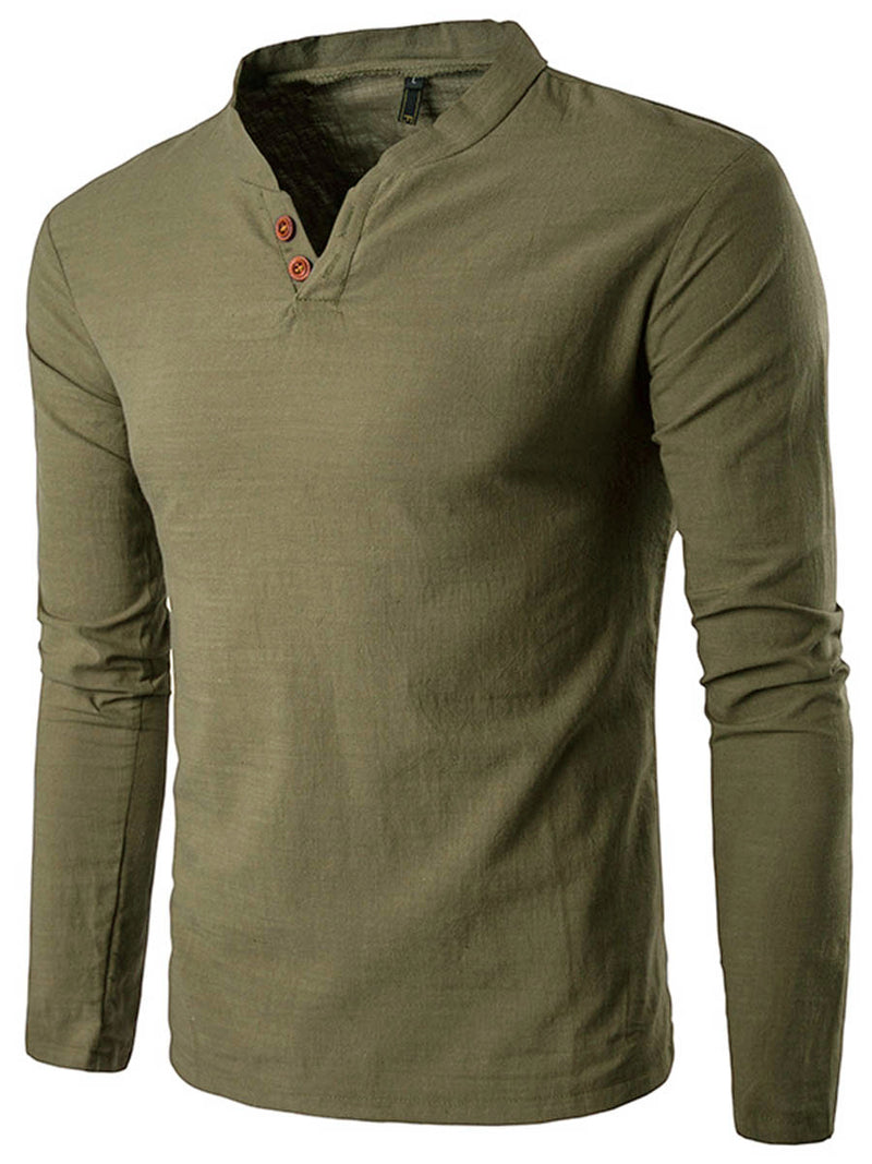 Solid Color Long Sleeve Linen Stand Collar Casual Men's T Shirt