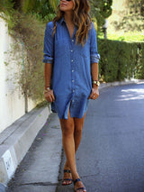 Long Sleeve Straight Denim Cardigan Women's Dress