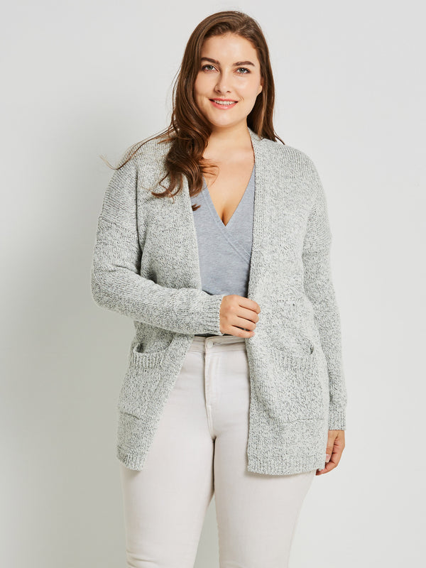Cardigan da donna allentato di media lunghezza tascabile
