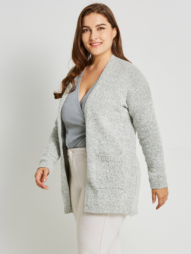 Pocket Plus Size Mid-Length Loose Damenjacke