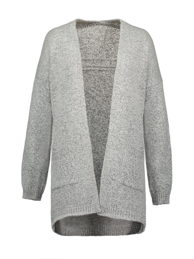 Cardigan Femme Pocket Plus Size Mid-Length Loose