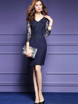 Three-Quarter Sleeve Lace See-Though Patchwork V Neck Women's Sheath Dress