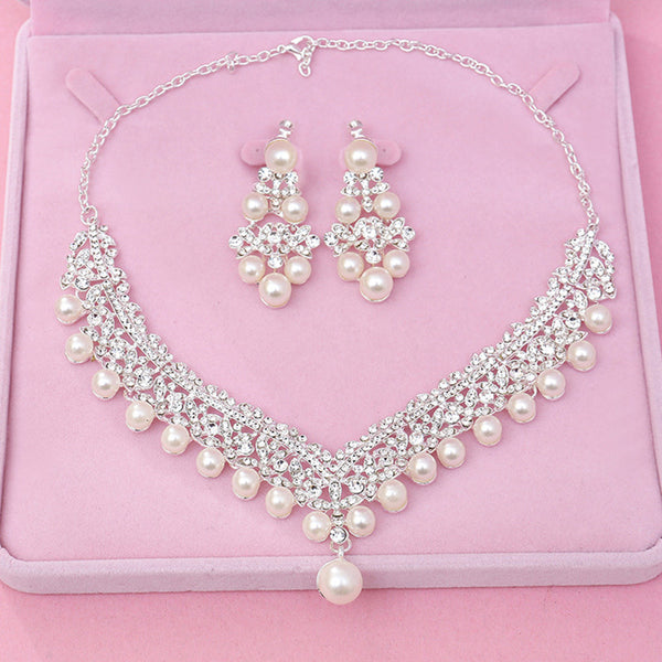 Brilliant Crown Pearl Wedding Jewelry Set