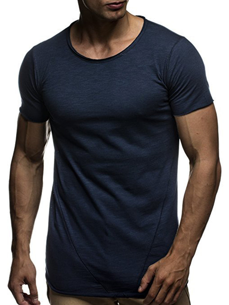 Round Collar Thin Slim Men's Short Sleeve Sports T Shirt
