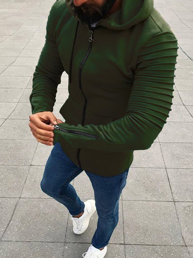 Plain Mid-Length Cardigan Zipper Slim Fit Men's Hoodie