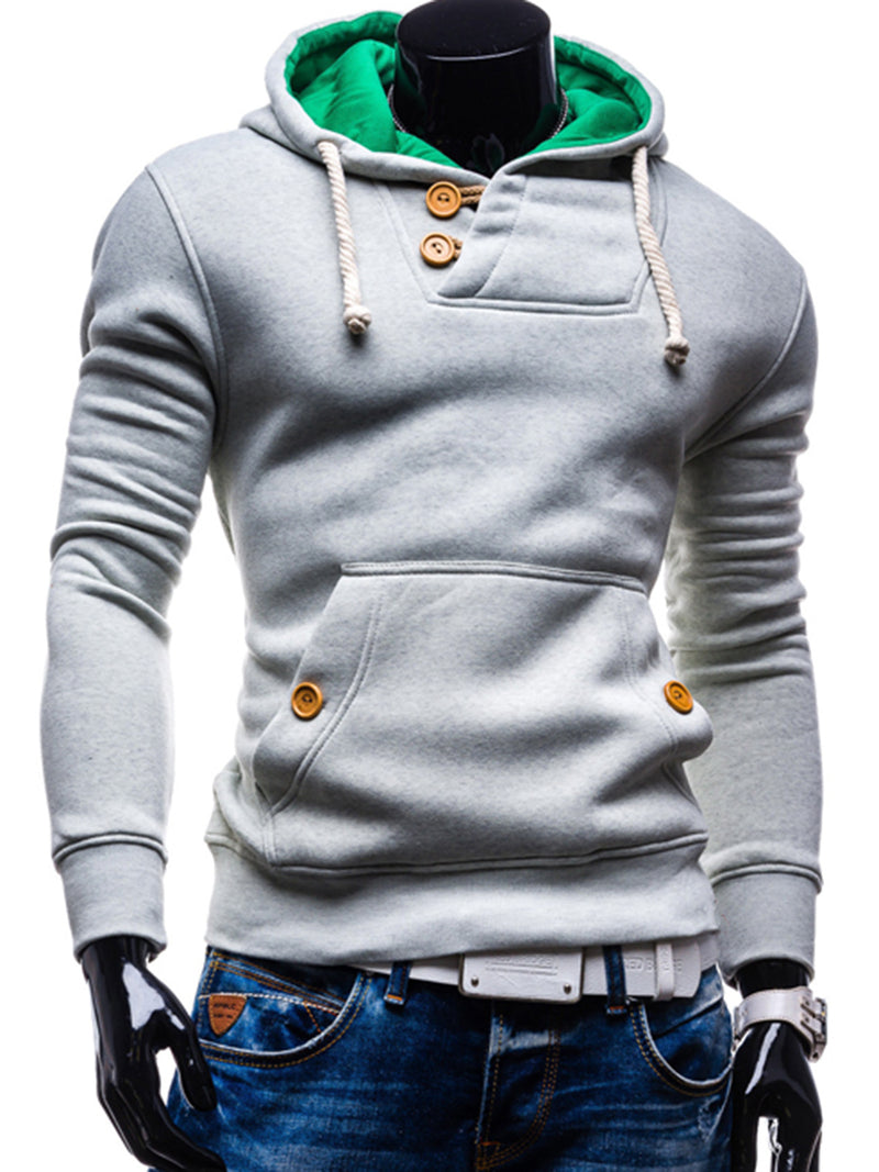 Lace-Up Hooded Kangaroo Pocket Color Block Slim Men's Hoodie