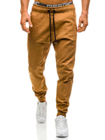Plain Lace-Up Mid-Wasit Loose Men's Casual Pants