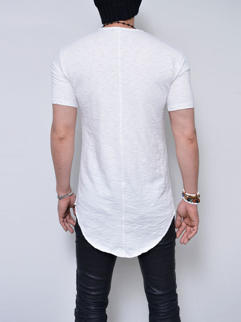 Middle Length Solid Color Summer Short Sleeve Men's Slim Fit T-shirt