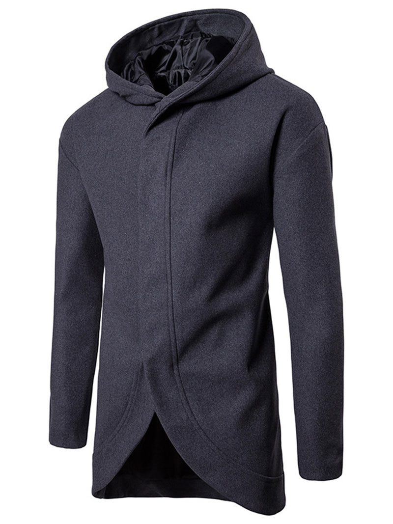 Hebedress Mid-Length Hooded Solid Color Men's Woolen Coat