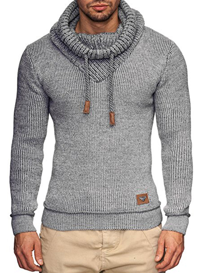Heap Collar Lace-Up Slim Fit Men's Pullover Sweater