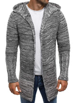 Mid-Length Hooded Color Block Slim Fit Men's Cardigan