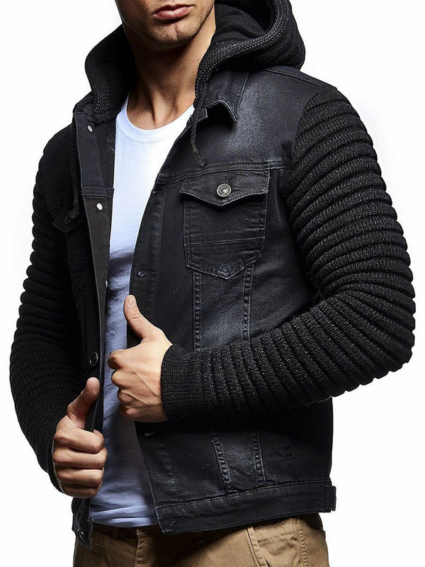 Color Block Patchwork Hooded Slim Fit Men's Demin Jacket