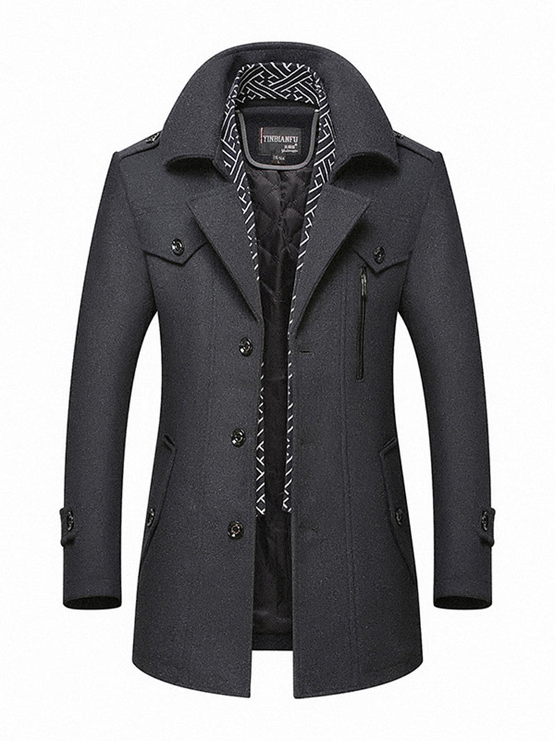 Lapel Single-Breasted Mid-Length Men's Coat