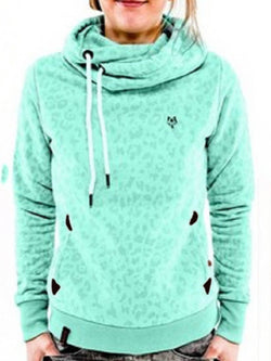 Heap Collar Long Sleeve Straight Pullover Women's Hoodie