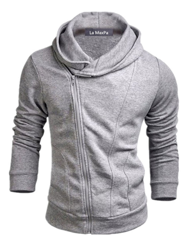 Hooded Oblique Zipper Solid Color Men's Casual Hoodie