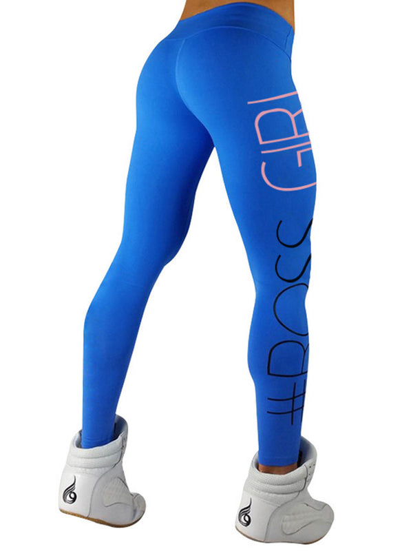 Pure Color Letter Print Mid-Waist Women's Sport Leggings