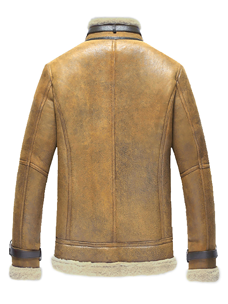 Faux Shrearling Zip Stand Collar Thicken Men's Jacket