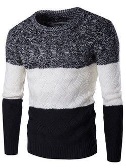 Round Neck Patchwork Slim Winter Men's Casual Sweater