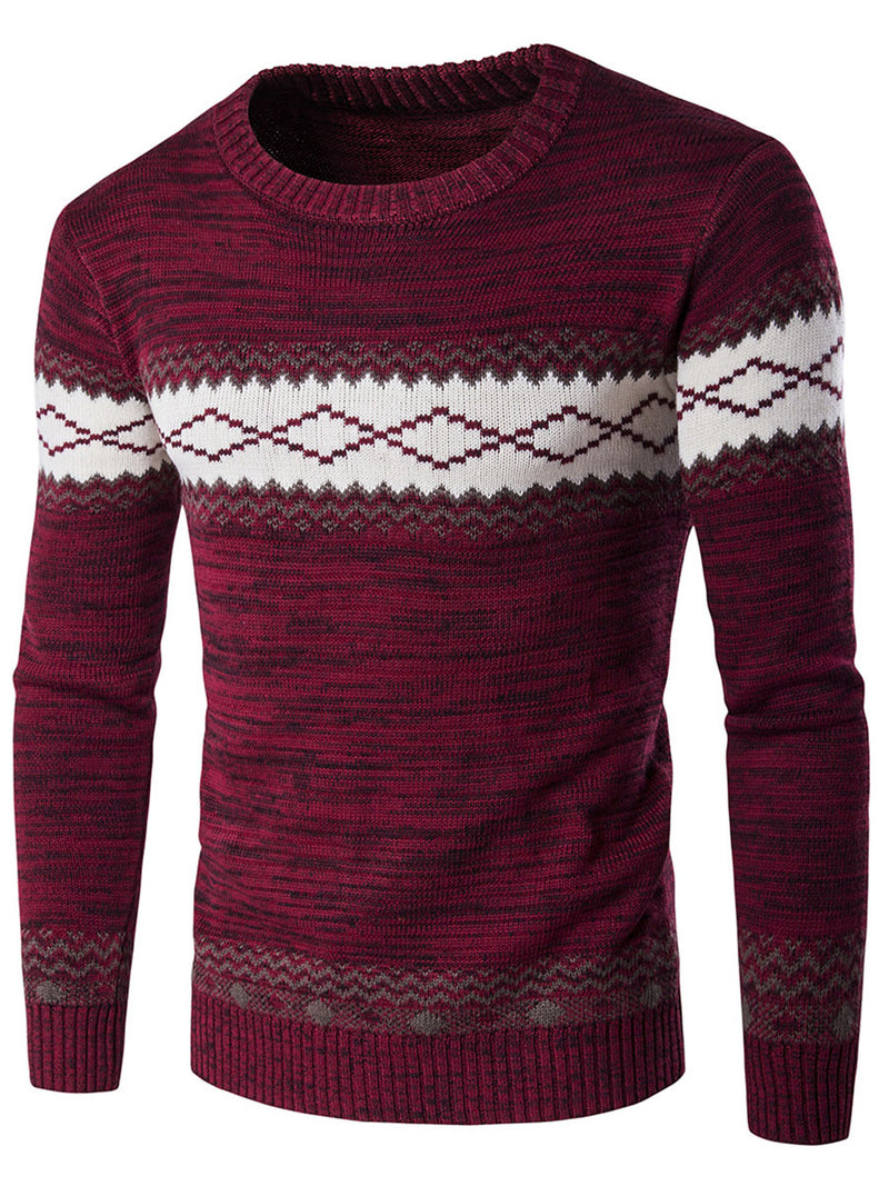 Color Block Round Neck Cotton Blends Men's Slim Sweater