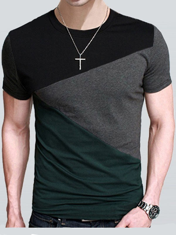 T-shirt girocollo estiva color block a manica corta