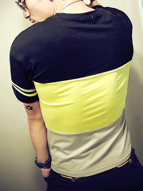 Men's Short Sleeve Tee with Color Block Stripe Patchwork