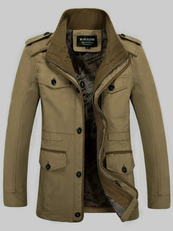 Hebedress Stand Collar Pocket Solid Color Men's Trench Coat