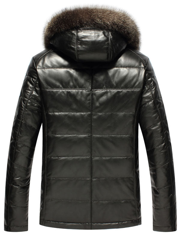 Hooded Faux Fur Collar PU Zip Men's Winter Jacket