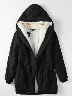 Pure Color Artificial Fur Hooded Women's Winter Cotton Coat