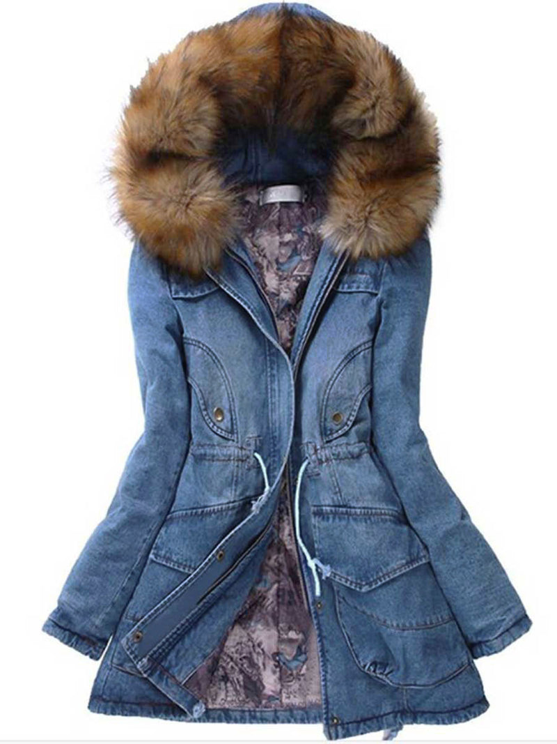 Winter Splendid Warm Hooded Mid-Length Denim Overcoat