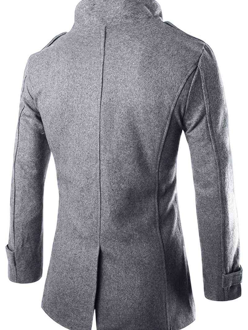 Lapel Double-Breasted Long Sleeve Overcoat