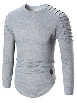 Stripe Long Sleeve Plain Round Neck Men's Pullover Hoodie