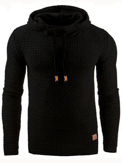 Hooded Lace-Up Pullover Slim Solid Color Men's Hoodie
