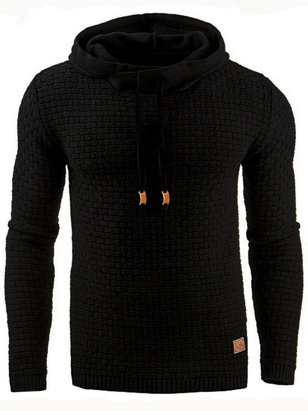 Hooded Lace-Up Pullover Slim color sólido con capucha de los hombres