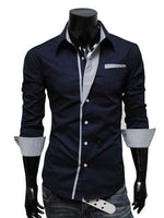 Men's Long Sleeve Color Block Patchwork Shirts