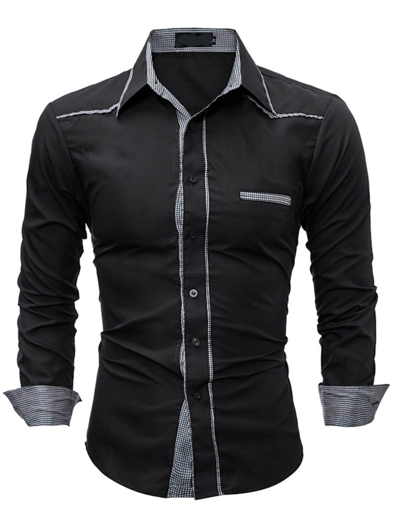 Hebedress Plaid Patched Casual Slim Men's Long Sleeve Shirt