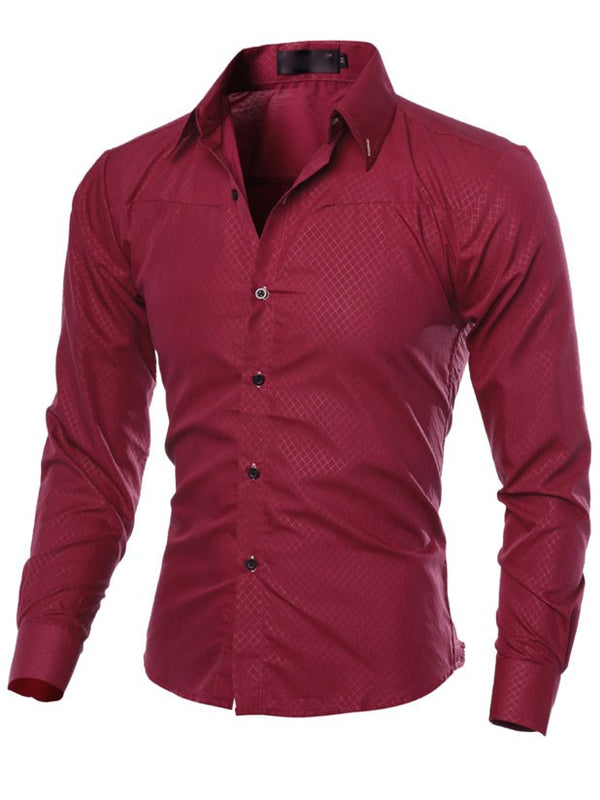 Plain Lapel Single-Breasted Slim Men's Long Sleeve Shirt