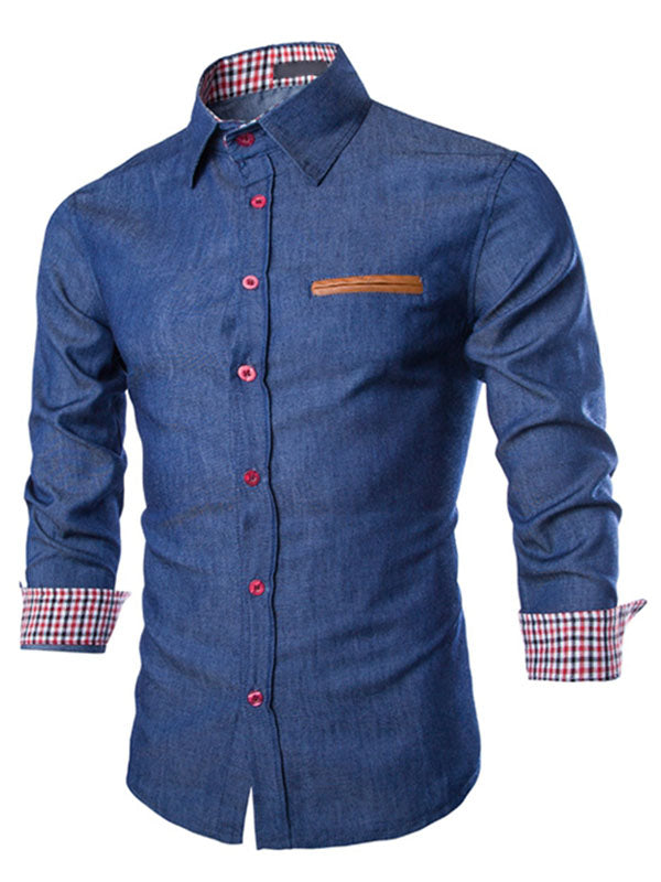 Camisa vaquera de manga larga color block faux pocket para hombres