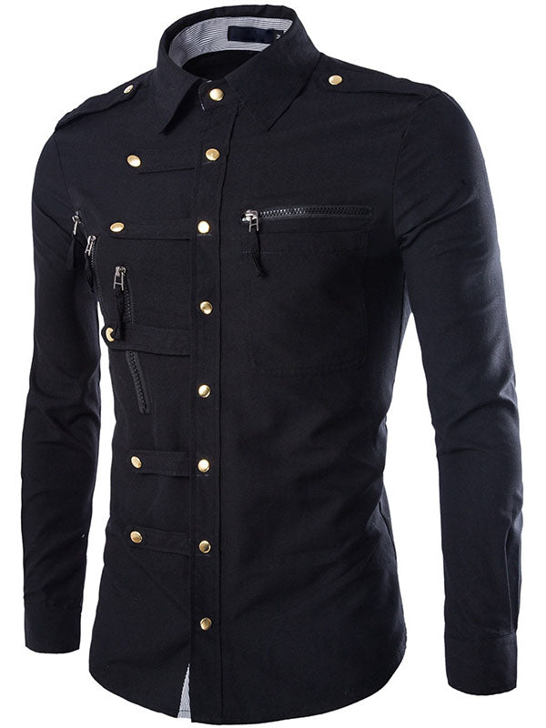 Single-Breasted Solid Color Button Men's Long Sleeve Shirt