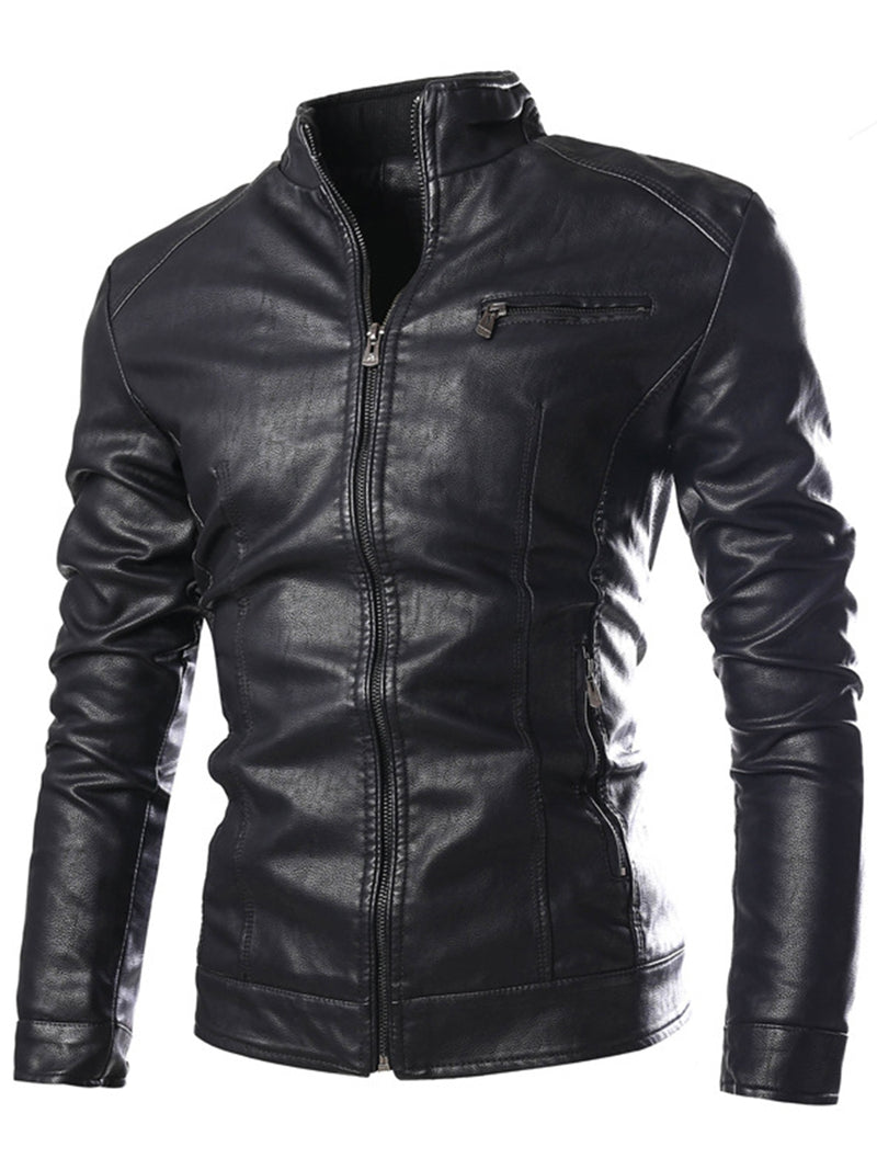 Zipper Stand Colalr Slim Men's PU Jacket