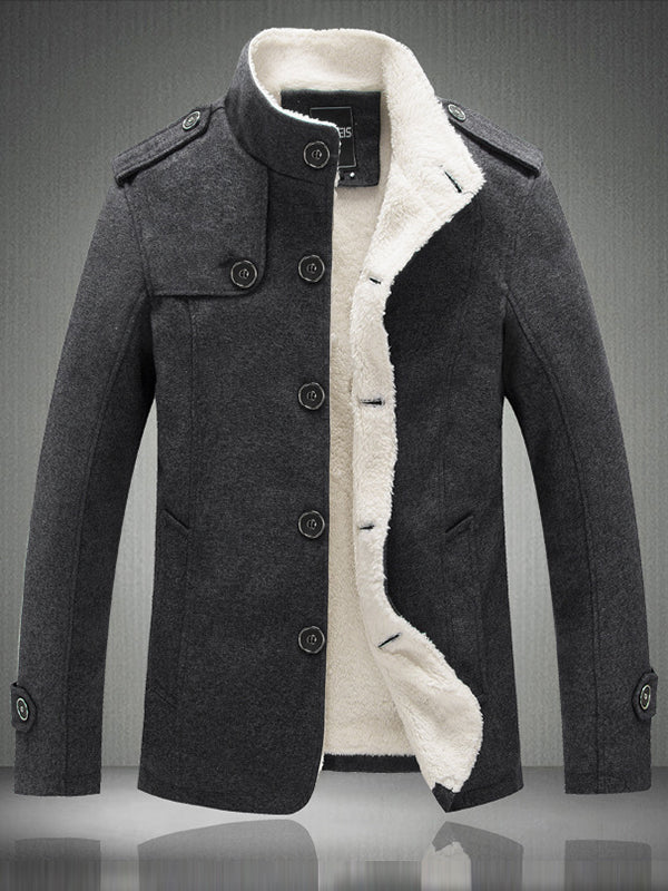 Solid Color Single-Breasted Slim Fit Stand Collar Men's Woolen Coat