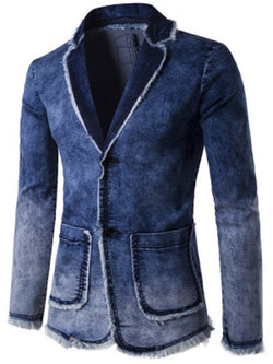 Gradient Color Notched Lapel Single-Breasted Casual Men's Denim Blazer