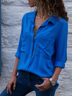 Plain Long Sleeve Lapel Chiffon Women's Blouse