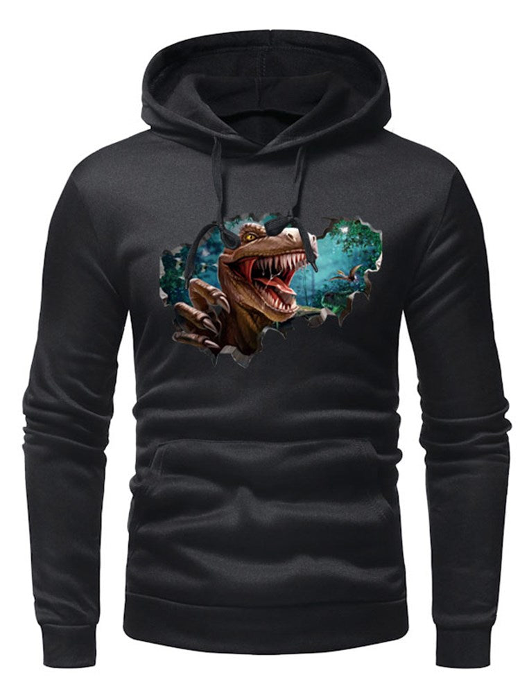 Hooded 3D Print Slim Casual Men's Hoodie