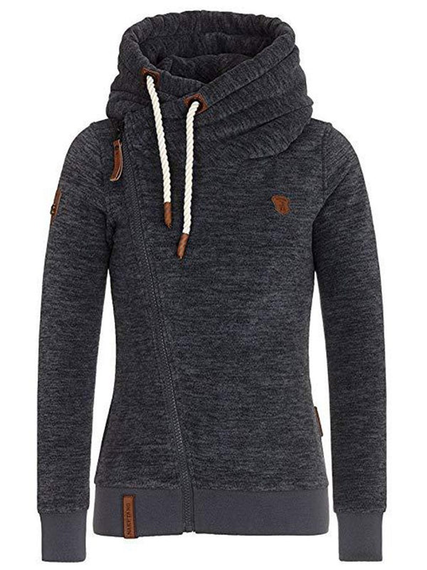 Zipper Slim Casual Turtleneck Sweatshirt