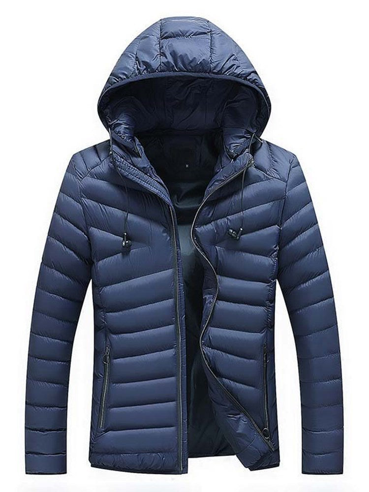 Hooded Zipper Stand Collar Plain Slim Men's Winter Jacket