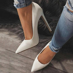White Classic Pointed Toe 12cm Stiletto Heels