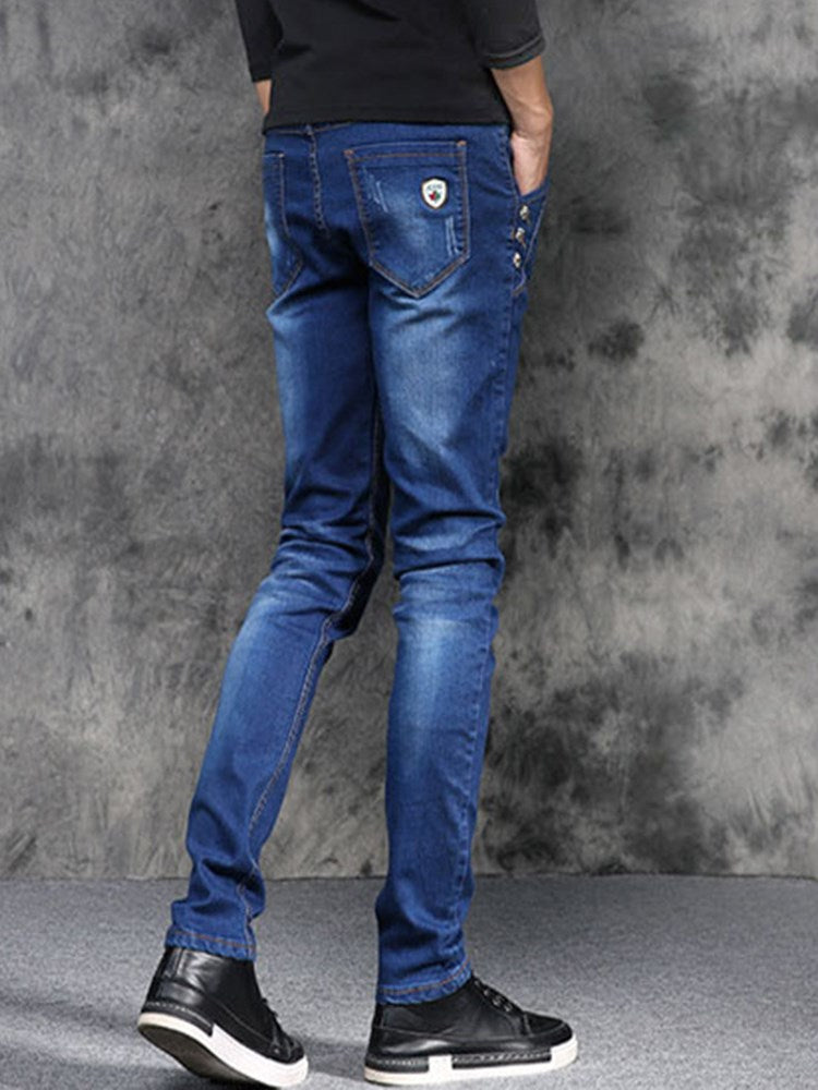 Korean Style Mid-Waist Worn Slim Men's Jeans
